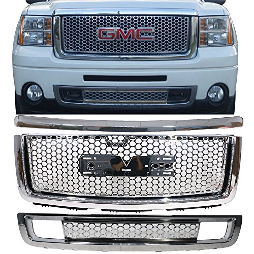Grille Fits 2007-2013 GMC Sierra 1500 Denali | ABS Plastic Chrome Front Upper Grille + Molding + Lower Grill By IKON MOTORSPORTS | 2008 2009 2010 2011 2012