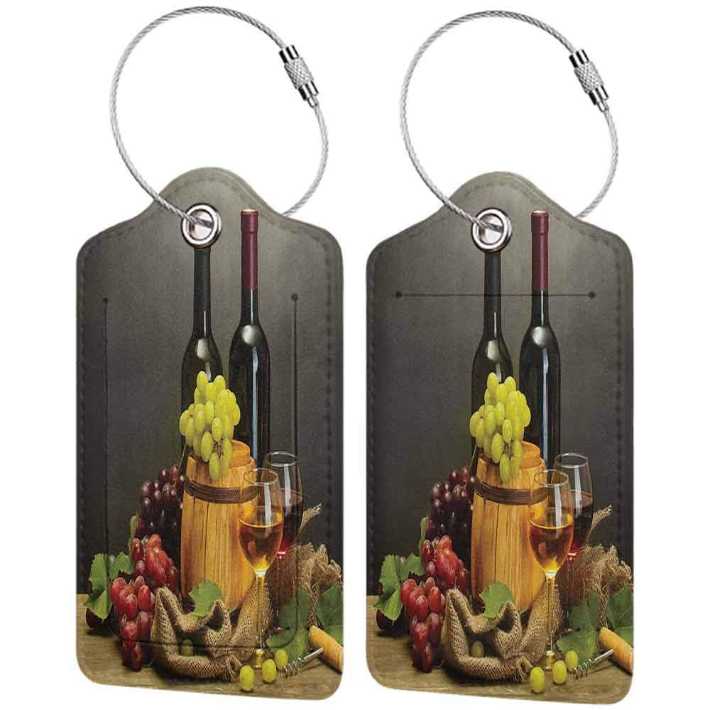 Flexible luggage tag Winery Decor Barrel Fashion match Bottles and Glasses of Wine and Ripe Grapes on Wooden Table Decorative Picture W2.7 x L4.6