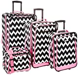 Rockland 4 Piece Luggage Set, Pink Chevron, One Size