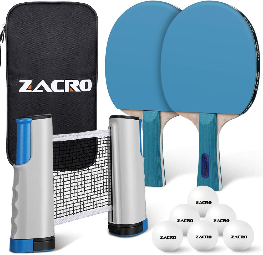 Zacro Raquette de Ping Pong Professionnel Set, 2 Raquette de Tennis de Table + Rétractable Filet de Table Tennis + 6 Balle