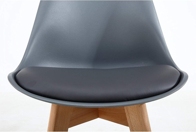 Grigio N//A Set di 4 sedie da Pranzo scandinave Sedia da Ufficio Imbottita Retro Tulipano con Gambe in Legno massello di Quercia e Cuscino in Similpelle