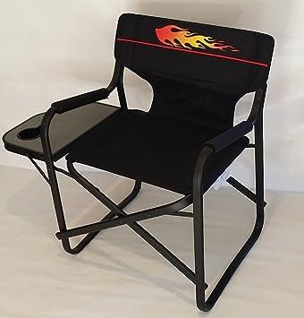 HOT ROD Heavy Duty Director Chair W/ Folding Side Table Cell Phone U0026 Drink