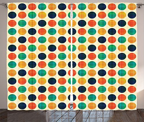 Ambesonne Polka Dots Home Decor Collection, Polka Dots in Nostalgic Funky Vibrant Colors Decimal Points Flecks Boho Illustration, Living Room Bedroom Curtain 2 Panels Set, 108 X 84 Inches, Multi