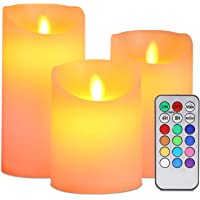 Flameless LED Candles, ALED LIGHT Pack of 3 Warm White plus Multicolored Real Wax Electric Candles with Remote Control…