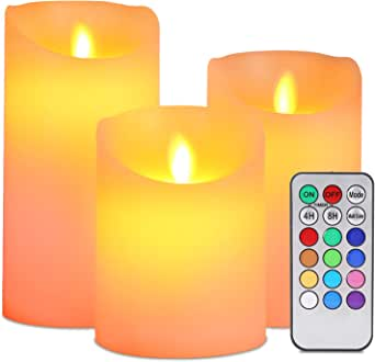 Flameless LED Candles, ALED LIGHT Pack of 3 Warm White plus Multicolored Real Wax Electric Candles with Remote Control and Timer Decorative Candles for Decoration batteries, Weddings [Energy efficiency class A +]
