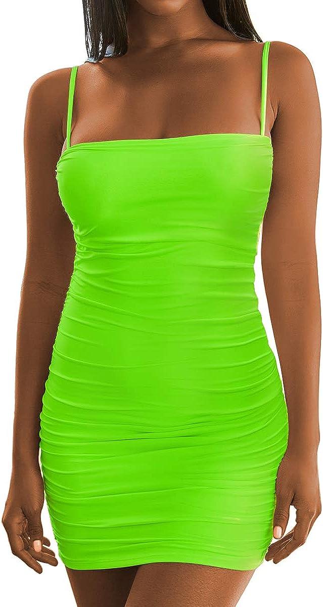 Ysranlr Women's Sexy Sling Backless Dresses Bandage Sleeveless Mini Dress