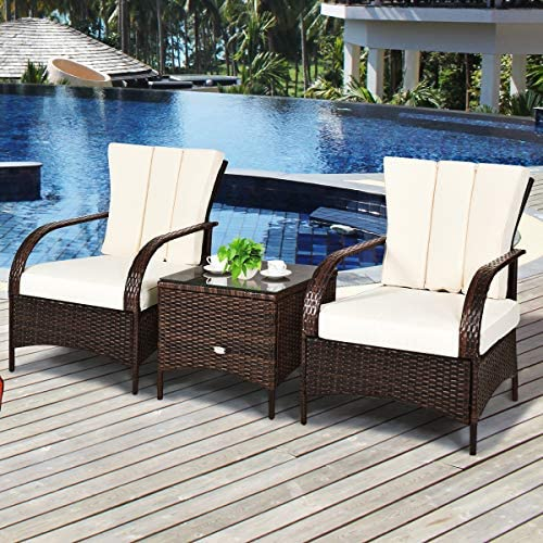 Tangkula 3 Piece Patio Furniture Set
