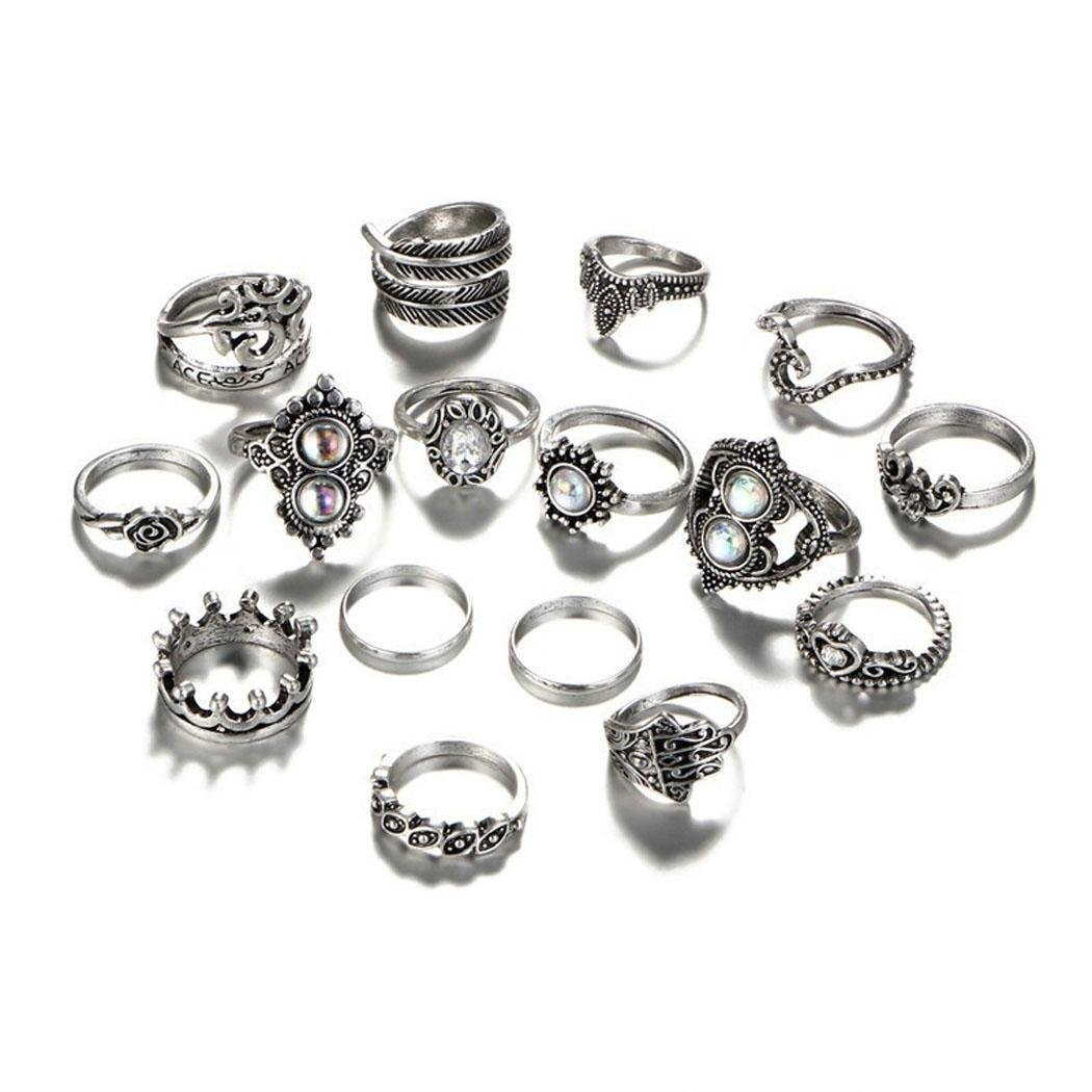 Jingjing1 16pcs Set Vintage Style Mid Midi Above Stack Knuckle Stacking Ring