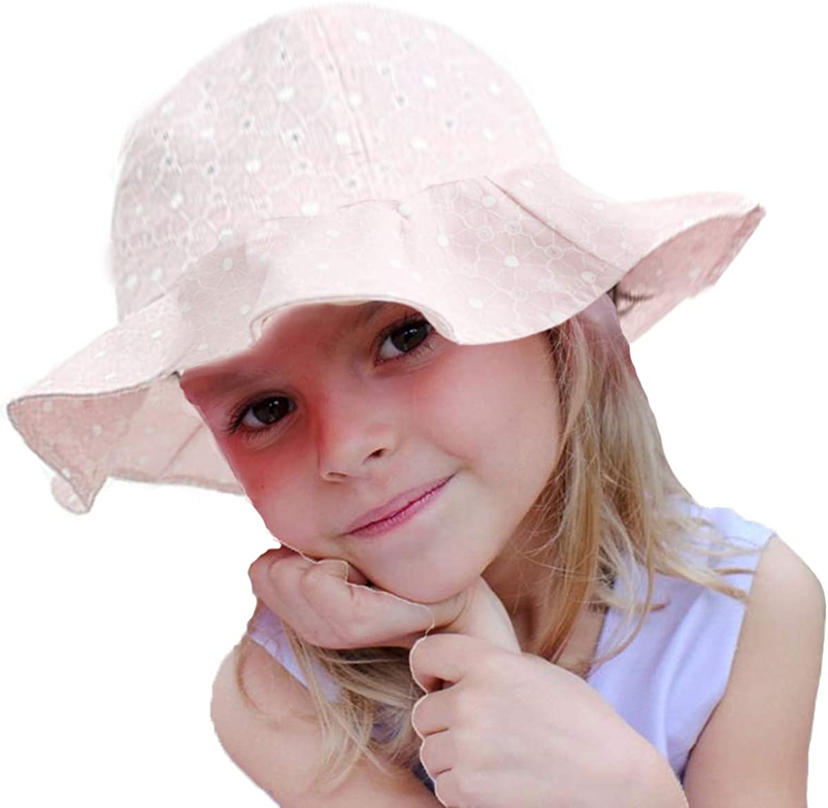 WELROG Baby Toddler Girl Sun Hat 19.7 inch Swimming Summer Sun Protection Floppy Wide Brim Hat Fit for 12-48 Months Baby
