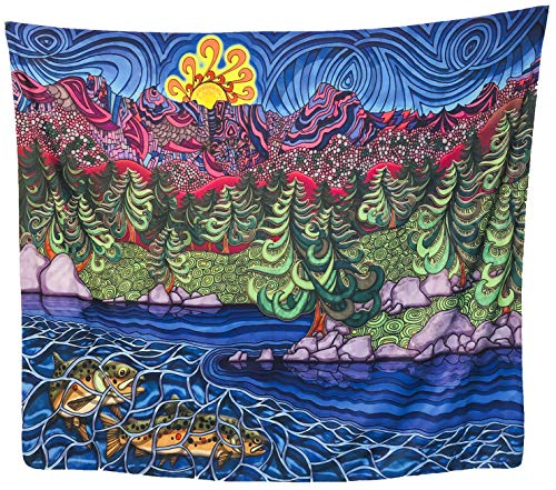 Black Acorn Psychedelic Nature Wall Tapestry - Trippy Colorful Sunset Lake Mountain Forest Landscape - Hippie Wall Hanging for Bedroom Living Room Dorm (59