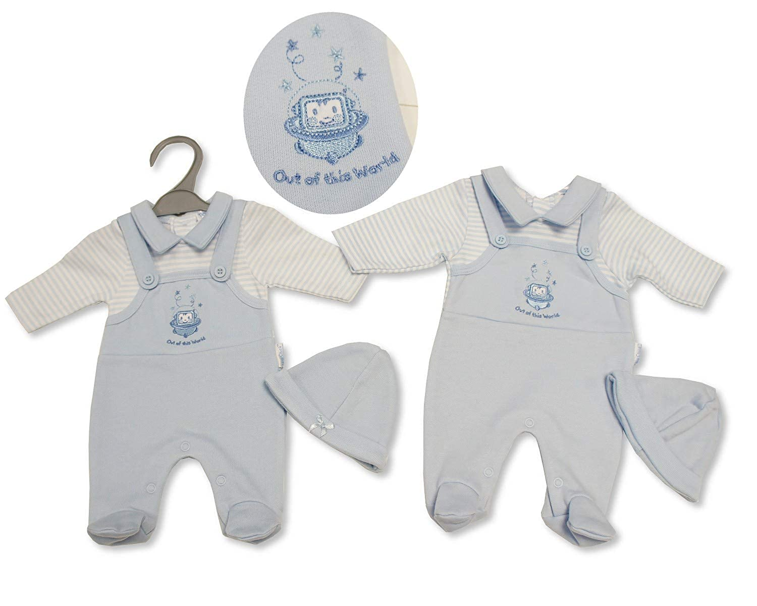 Nursery Time Tiny Baby 3-5 lbs Premature Dungarees Boys Blue Striped All in One Hat Space 328