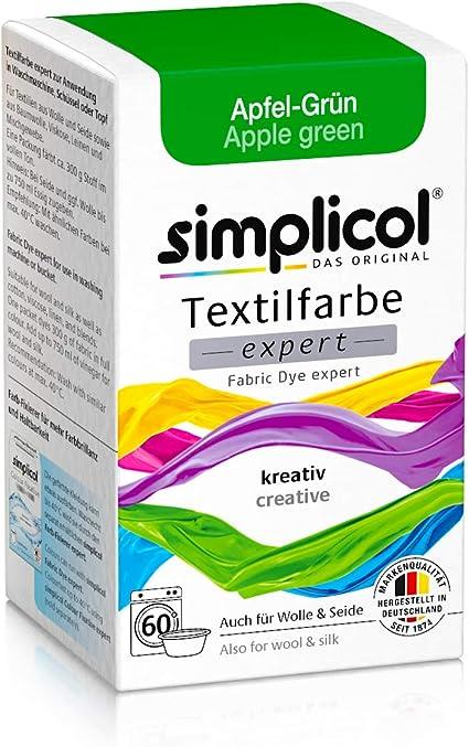 Simplicol Expert Fabric Dye Tinte de Coloración para Textiles: Lavado a Mano o Lavadora - Tiñe y Restaura Sus Telas y Ropa - Manzana Verde