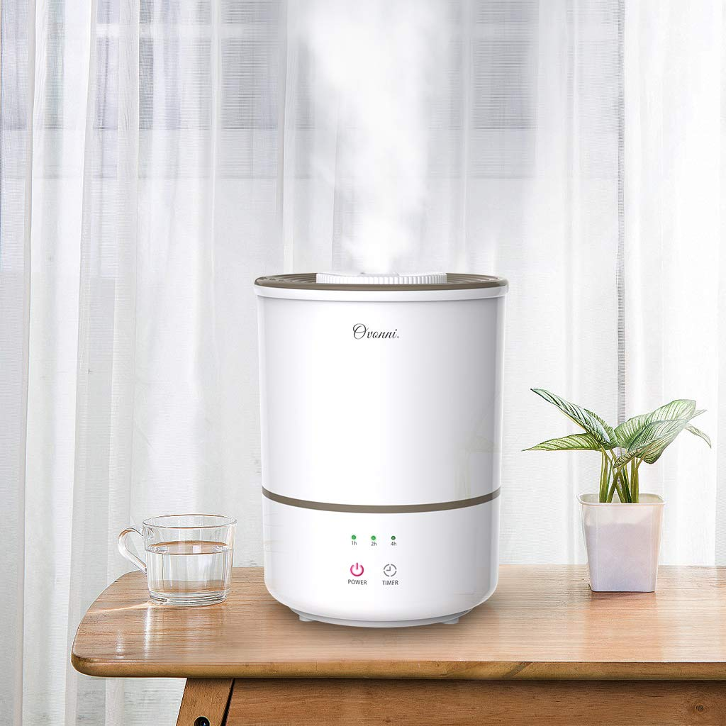 Ovonni Humidifiers 3L Cool Mist Ultrasonic Humidifier for Baby Bedroom Office Home,Premium Humidifying Unit with Large Water Tank,360/° Nozzle,Whisper-Quiet,Auto Shut-Off,Mist Level Control and Timer