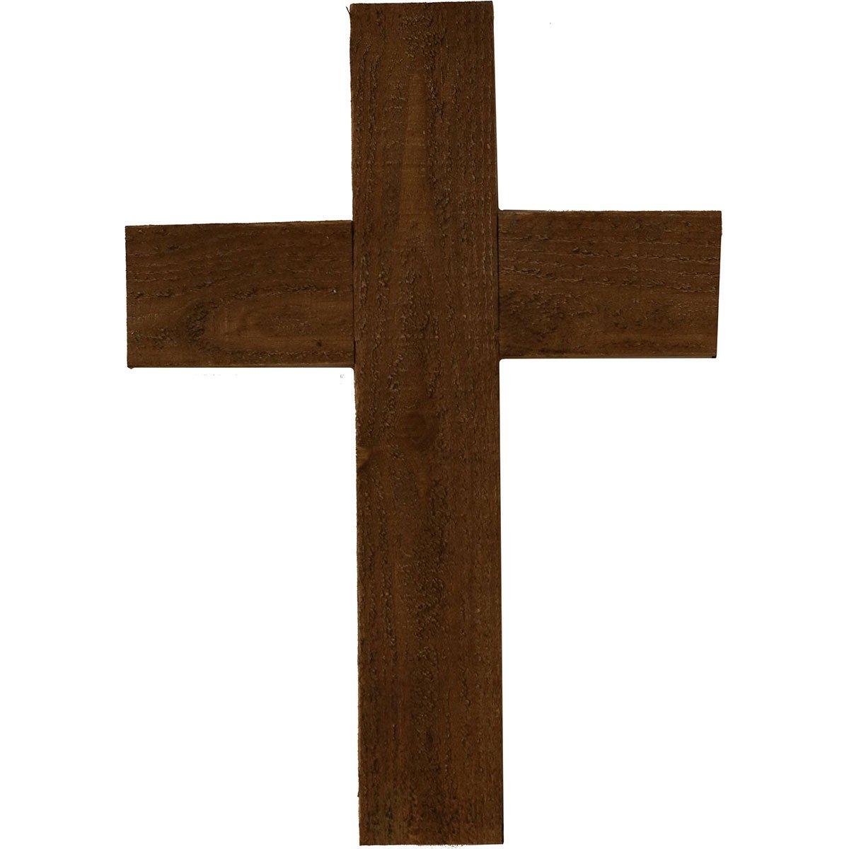 Ekena Millwork DECR012X016X0750CRSBR Wooden Cross, 12' W x 16' H x 3/4' D, Weathered Brown 12 W x 16 H x 3/4 D