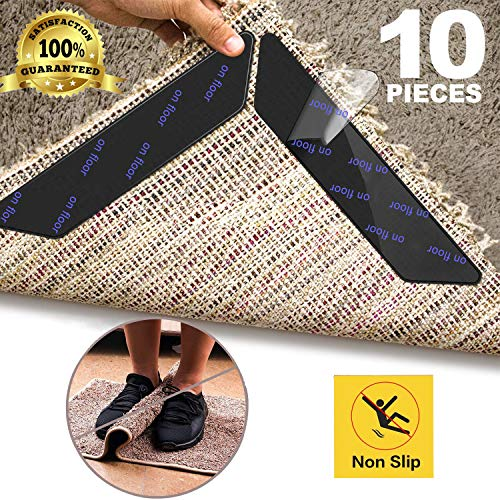 TINGOR 10 Pcs Anti Curling Carpet Tape Rug Grippers, Non Slip Rug Runner Gripper Pad for Area Rugs Double Sided Washable Reusable Pads for Tile Hardwood Floors, Carpets, Floor Mats, Wall, Black