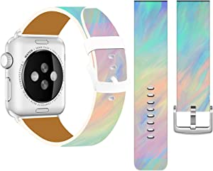Bands Compatible with Iwatch 38mm/40mm & Cisland Leather Strap Compatible with Apple Watch Series 1/2/3/4/5/6/SE Sport & Edition Blue Rainbow Colorful Dreamlike Light Pattern