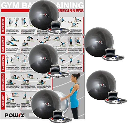 POWRX Gymnastikball Anti-Burst inkl. Pumpe und Workout