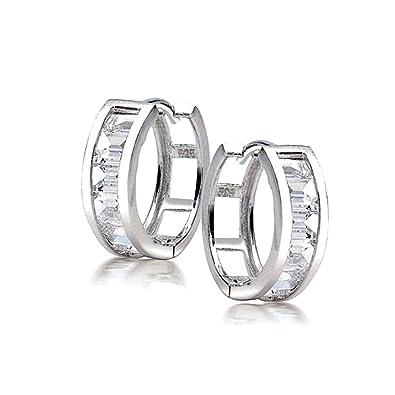 4059c4e488012 Square Asscher Cut CZ Channel Set Kpop Huggie Hoop Earrings For Women For  Men Cubic Zirconia 925 Sterling Silver
