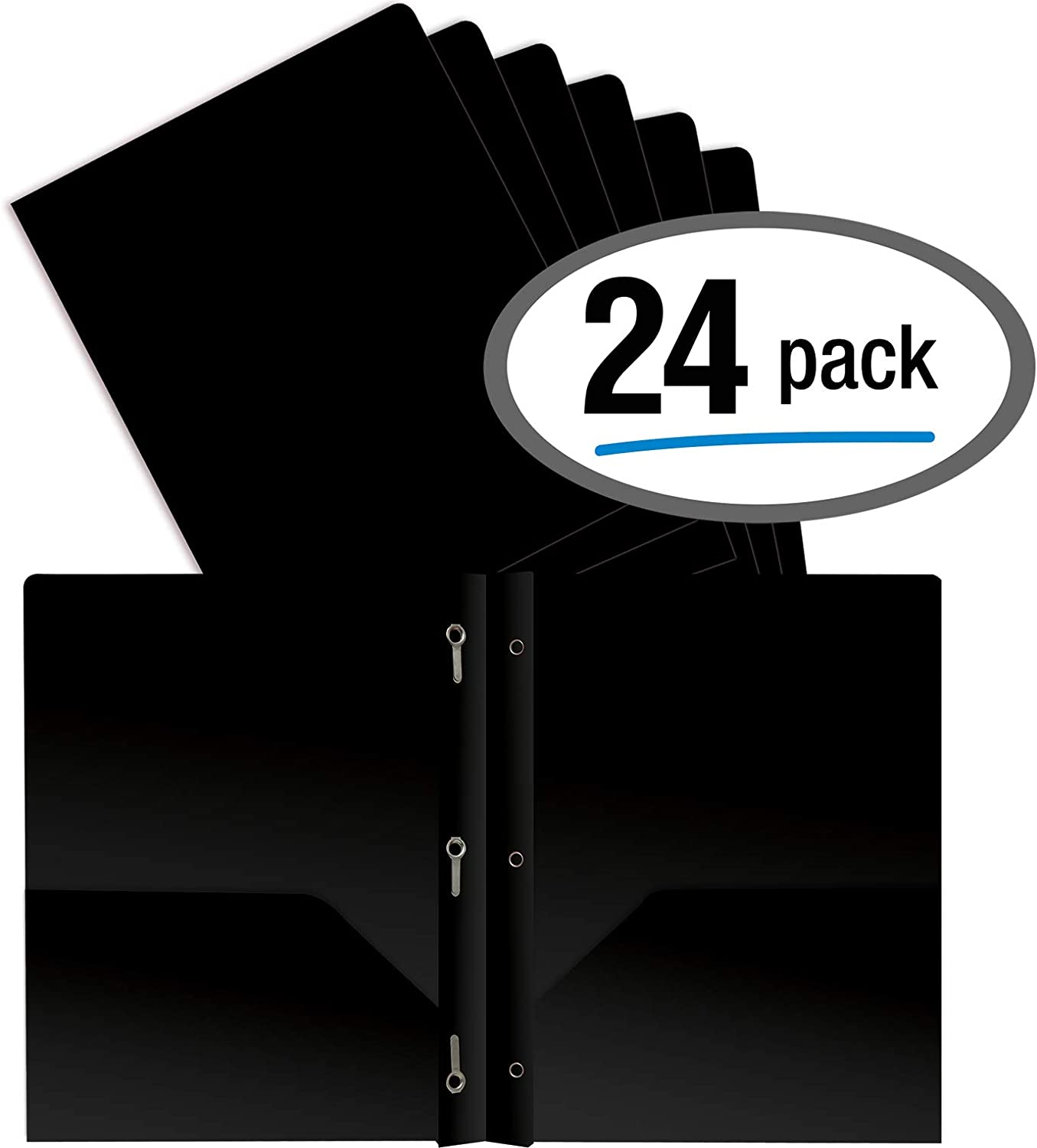 Better Office Products Black Plastic 2 Pocket Folders with Prongs, Heavyweight, Letter Size Poly Folders, 24 Pack, with 3 Metal Prongs Fastener Clips, Black