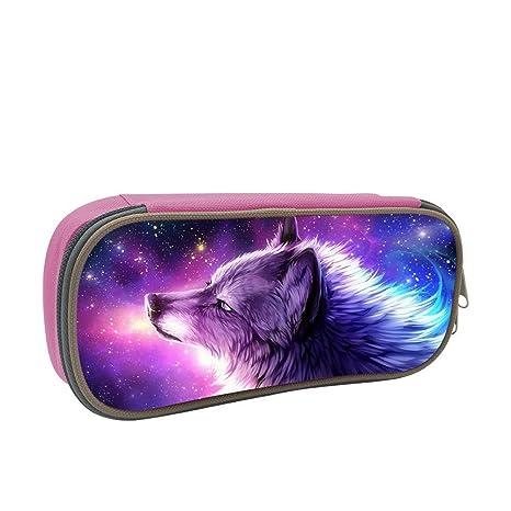 Amazon.com: XTQI - Estuche para lápices Galaxy Wolf, gran ...