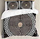 Greek Key Bedding Sets, Grecian Fret and Wave Pattern on Dark Background Antique Retro Swirls, 4 Piece Duvet Cover Set Bedspread for Childrens/Kids/Teens/Adults, Dark Brown Coconut Tan,Twin Size