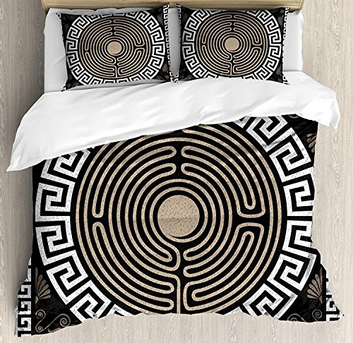 Greek Key Bedding Sets, Grecian Fret and Wave Pattern on Dark Background Antique Retro Swirls, 4 Piece Duvet Cover Set Bedspread for Childrens/Kids/Teens/Adults, Dark Brown Coconut Tan,Twin Size by TweetyBed