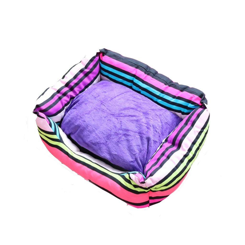 57x49x16cm Jjek Dog bed, striped color bed, simple nest (rainbow, 57x49x16cm, small) (Size   57x49x16cm)