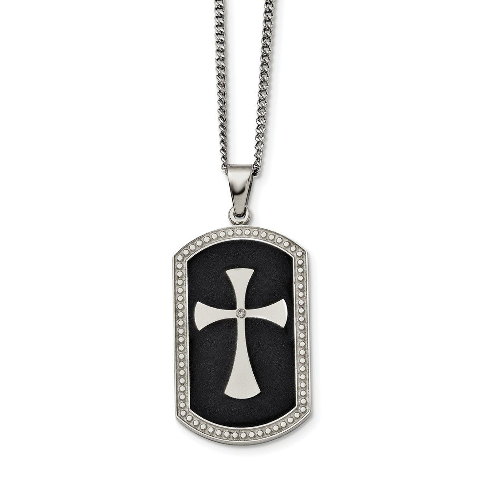 Length 24 in, Jay Seiler Stainless Steel Polished w//Crystal Cross Necklace