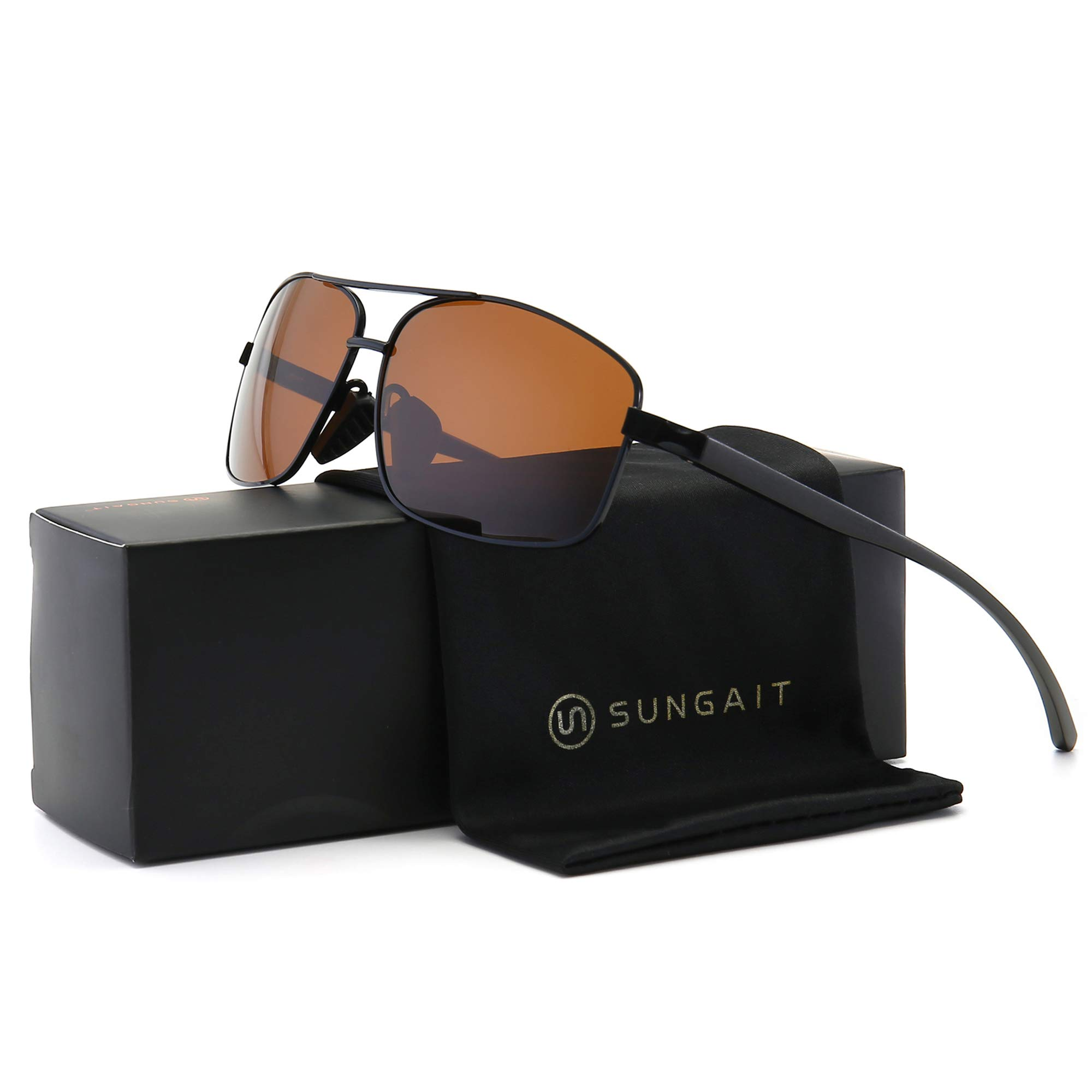 SUNGAIT Ultra Lightweight Rectangular Polarized Sunglasses UV400 Protection (Black Frame Brown Lens, 62) Metal Frame 2458 HEKC by SUNGAIT