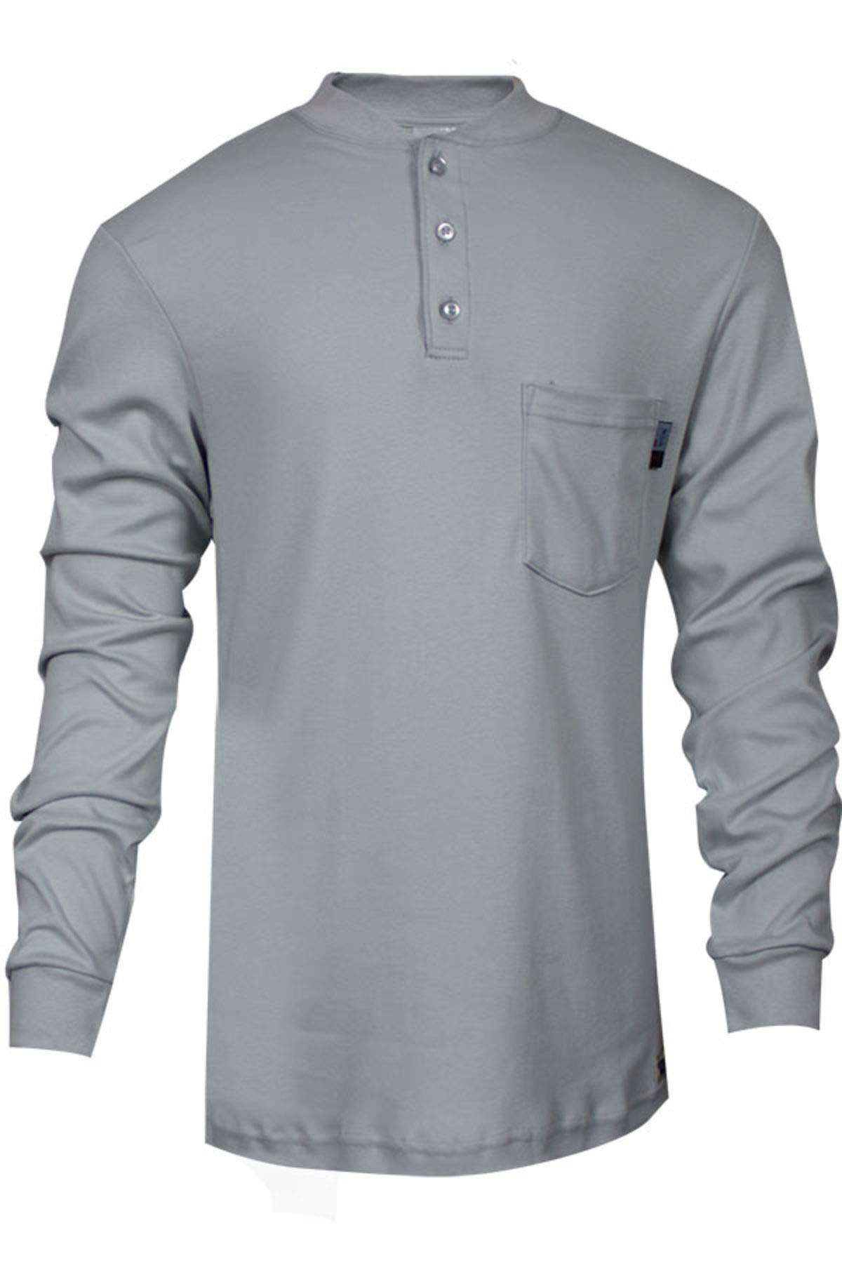 National Safety Apparel C54PGBSLSXL Flame Resistant Classic Cotton Long Sleeve Henley Shirt, X-Large, Gray