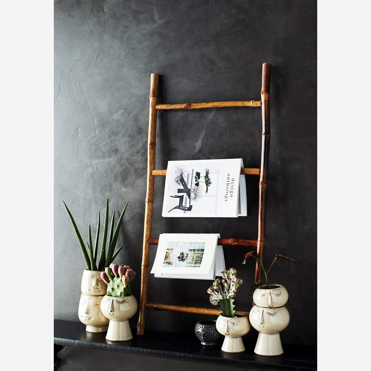 diametro 13,5 x 15 cm colore: Beige//Marrone Vaso da fiori con motivo in rilievo Madam Stoltz