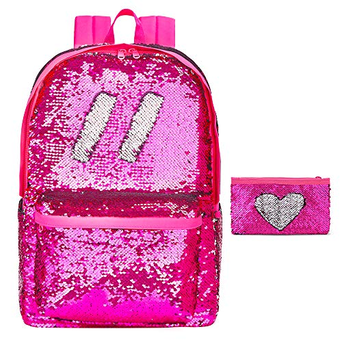 Flip Sequin School Backpack Bookbag for Girls Kids Teen Cute Glitter Sparkly Book bags Back Pack(Hot Pink)