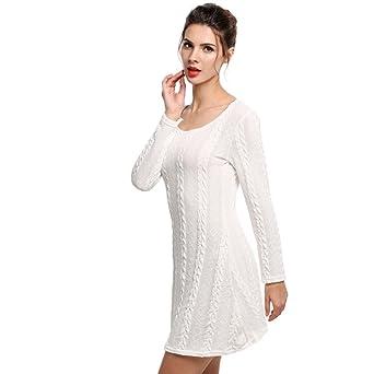 SOMESUN Donne Moda Caldo Colore Puro Manica Lunga Girocollo Saltatore  Sottile Casuale a Maglia Maglione Mini Vestito 13108fffd4f