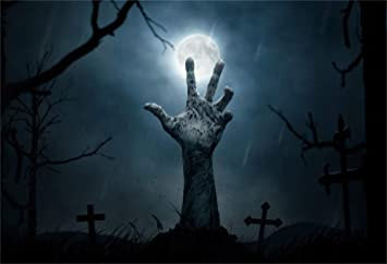 LFEEY 10x8ft Horror Halloween Zombie Hand Background Scary Cemetery Corpse  Cross Grave Tombstone Photography Backdrop Scary Moon Night Photo Studio
