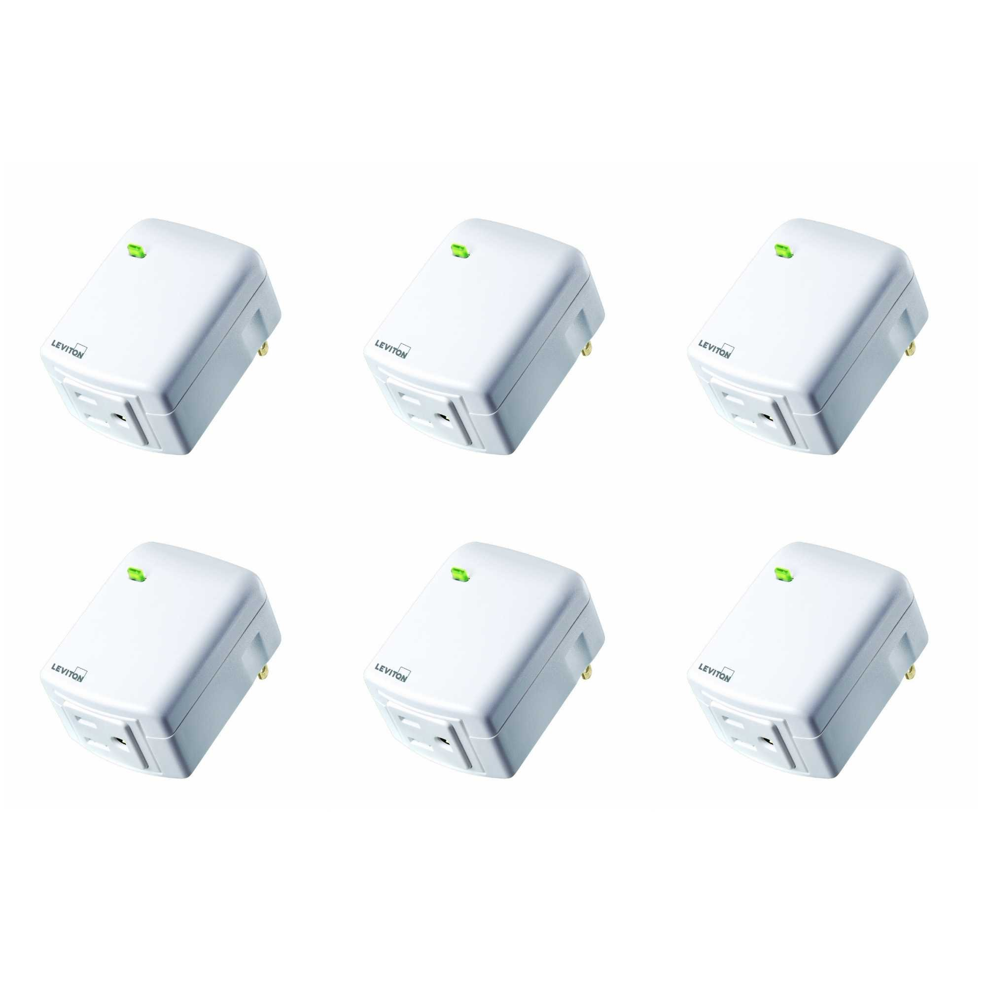 Leviton DW15A-1BW Decora Smart Wi-Fi Plug-in Outlet, Works with Amazon Alexa, No Hub Required (6 Pack)
