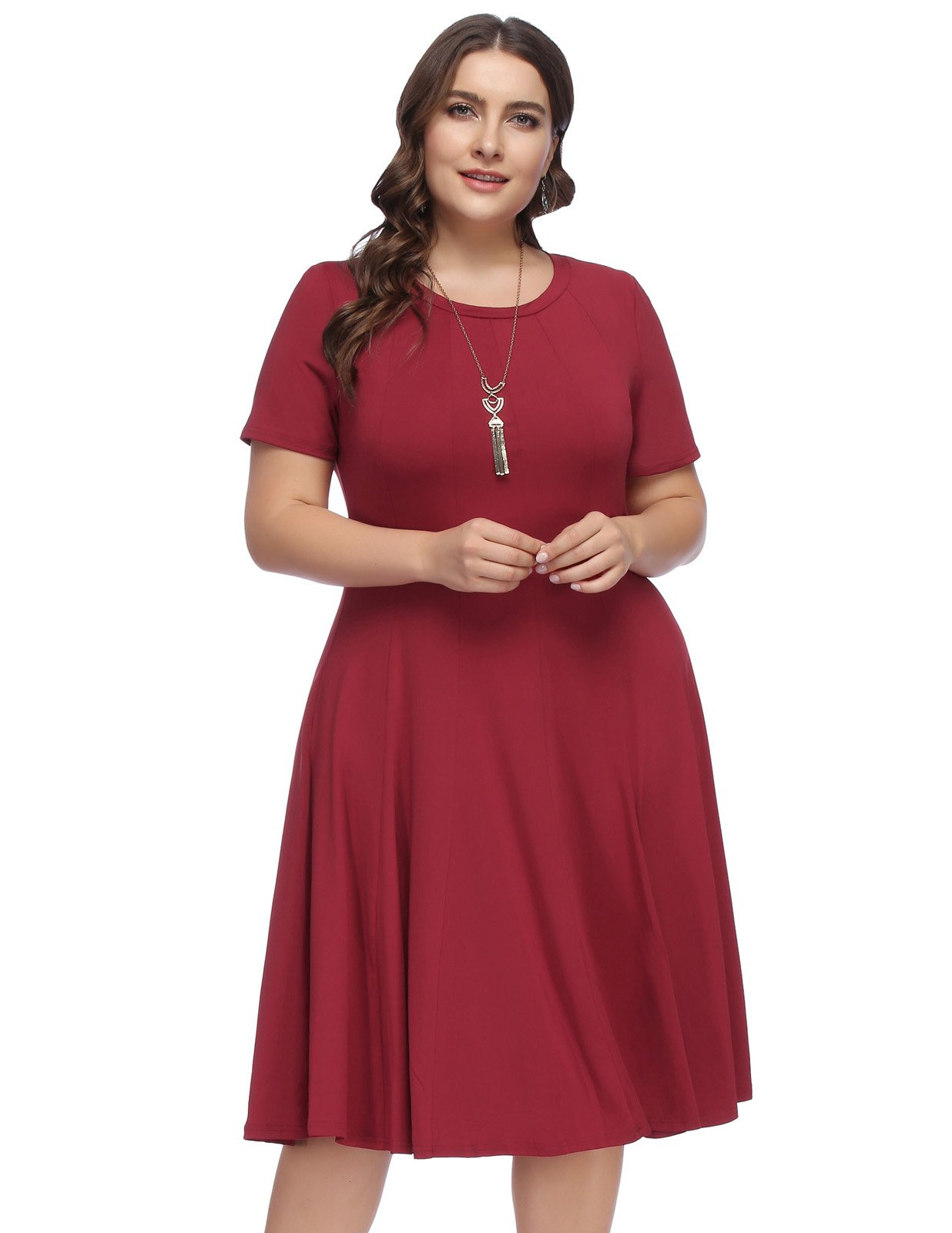 Hanna Nikole Womens Plus Size Loose Fit Swing Tunic Tops Basic T Shirt Size 16W Wine Red