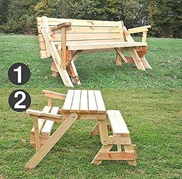 Mesa plegable para jardín convertible en banco (de madera maciza, convertible, todo en uno): Amazon.es: Deportes y aire libre