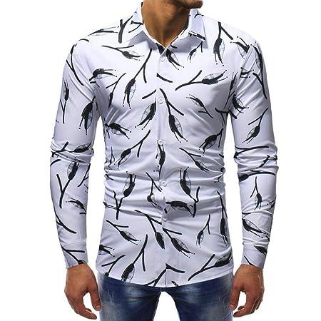 Qiusa Camisa para Hombre Top de Manga Larga Casual Personalizado ...