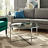Living Room with Glass Coffee Table WE Furniture AZF36ALCTGCR Glass Coffee Table, Chrome