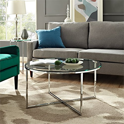 WE Furniture AZF36ALCTGCR Glass Coffee Table, Glass/Chrome