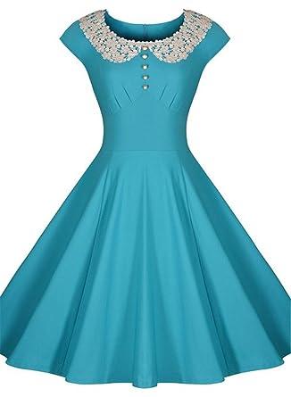 Tailloday Damen 50er Retro Rockabilly Business Langarm Swing ocktailkleid Stretch  Kleid S