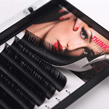 b9eb2d58c30 Amazon.com : THINKSHOW Eyelash Extensions 0.07mm C Curl 10mm 12mm 14mm 3  Trays Single Lashes Individual Eyelashes Trays Salon Use : Beauty