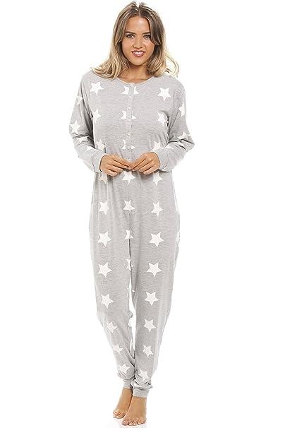 Camille - Pijama largo de una pieza para mujer - Algodón - Estampado de estrellas blanco