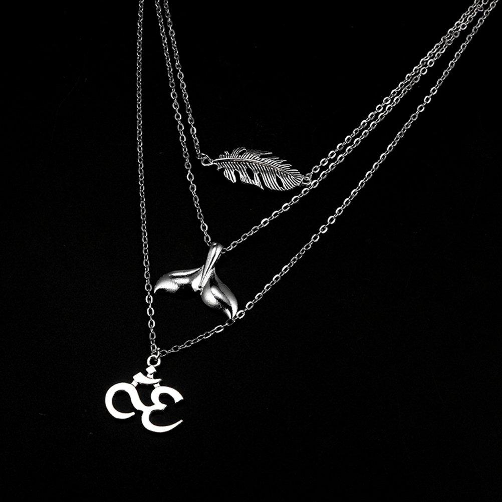 TENDYCOCO Halskette Geschichteten Meerjungfrau Schwanz Anh/änger Halskette Legierung Choker Halskette f/ür Frauen M/ädchen