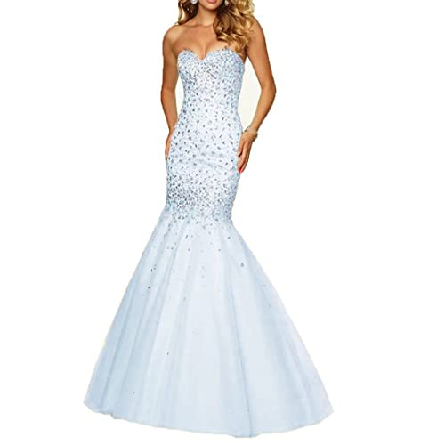 Fashionbride Womens Prom Dresses Long 2018 Crystals Lace-up Mermaid Formal Evening Dresses F032