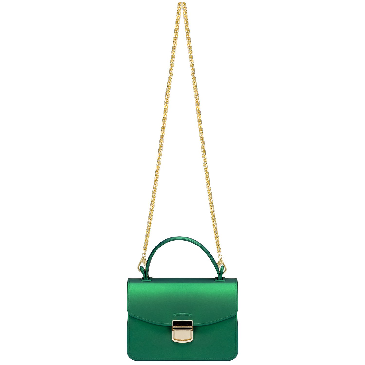 Small Top Handle Handbags Jelly Satchel Bags for Women Tote Purse - Green by Chrysansmile (Image #5)