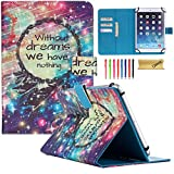 Dteck Universal Case for 9.5-10.5 inch Tablet - Nice Cute Slim Folio Stand Pocket Case Cover for Apple/Samsung/Kindle/Huawei/Lenovo/Android/Dragon Touch 9.7 9.6 10.1 10.5 Inch Tablet-Without Dreams