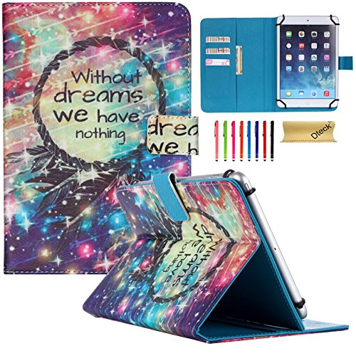 Universal 9-10 inch Tablet Case, Dteck(TM) Luxury Synthetic Leather Magnetic Closure with Auto Wake/Sleep Function [Cards/Money Slots] Wallet Case Cover for All 9-10 inch Tablet (01 Without Dreams)