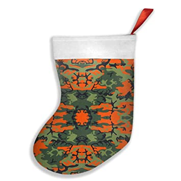greendark greenorangeand black camouflage christmas stocking fireplace decor with gift