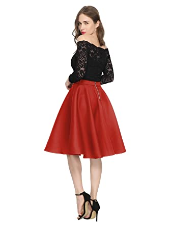 6f98280840 Maggie Tang 1950s Vintage Retro Polka Dots Swing Rockabilly Casual Skirts  RD S Red